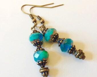 Dangle Earrings,Steel Blue Drop Earrings,Czech Glass Earrings, Brass Earrings ,Glass Earrings, Brass Bead Caps,Tierra Cast Bead Caps