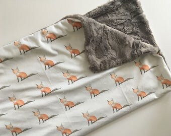 Fox baby blanket, Woodland baby blanket, fox nursery, foxes trees, rustic woodland baby shower gift, baby bedding, fox baby bedding
