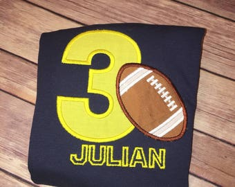 Football Birthday Shirt any age 1-9, your team colors
