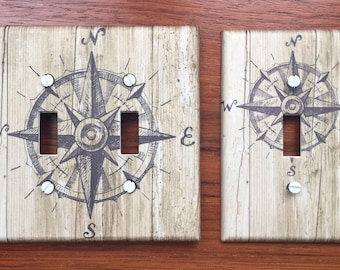 Rustic nautical light switch plate // ship compass boat brown wood plank decor // Light switch cover // SAME DAY SHIPPING **