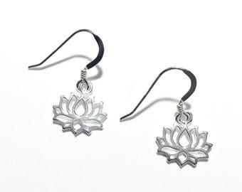 Sterling Silver Lotus Drop Earrings