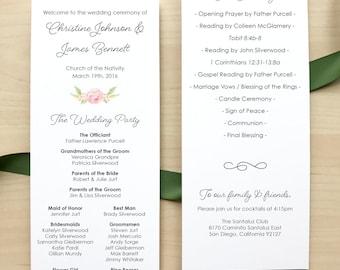 Wedding Programs / Romantic Blush Floral Invitation Suite / Garden Weddings / #1105