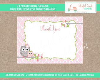 Owl Baby Shower Thank You Cards, INSTANT Download - 5X7, Thank You Notes, Owl Baby Shower, Pink, Green, #0002