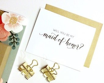 Card - Will You Be My Maid of Honor? | Wedding Party Card, Wedding Card, Bridesmaid Card