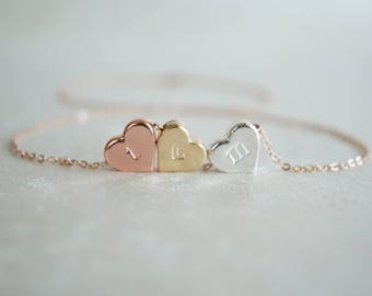 Personalized Heart Necklace, 3 Heart Necklace, Rose Gold, Silver, Three Sisters, 3 Best Friends, Birthday Gift, Custom Jewelry Hand Stamped