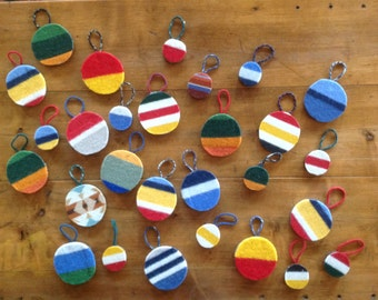 Set of Wool National Park Ornaments on Reclaimed Wood Rounds