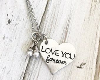 As long as I'm living my baby you'll be - Hand stamped necklace - Mother's necklace - Love you forever - Name Necklace - Book lover