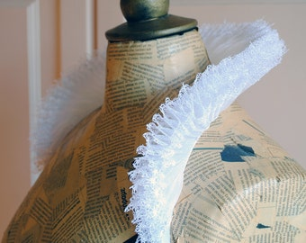 White Lace and Organza Elizabethan High Collar,Renaissance Venice Carnivale Costume,Mardis Gras Costume-Ready to ship