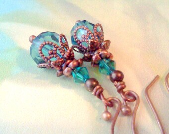 Blue Crystal Earrings, Aqua Earrings, Teal Earrings, Copper Bracelet, Vintage Style Bracelet, Victorian Style Bracelet, Blue Bracelet