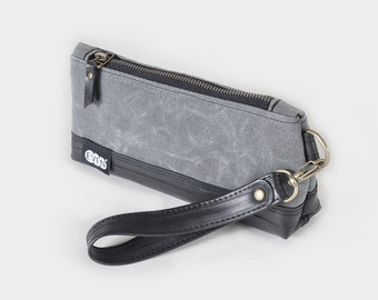 Wristlet Clutch made from waxed canvas and recycled bike inner tubes