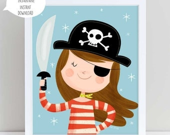 pirate girl, pirate girl art, cute pirate illustration, pirate art, nursery, nursery wall art, baby girl art print, pirate theme art