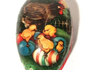 Vintage 1950s West German Paper Mache Easter Egg, Hen and Chicks