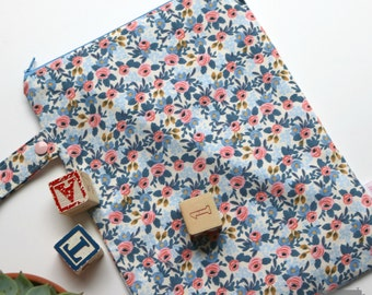 Wet / Dry Bag - Re-useable - Les Fleurs by Rifle Paper Co Rosa Floral Cream and Blue - Baby and Kid Travel - Girl - flowers - Cloth Diapers