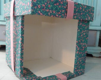 Vintage Miniature Display Case 1/24 Scale Miniature Room Box Fabric Covered Box Curio Box Decorative Box with Lid Half Scale Miniatures