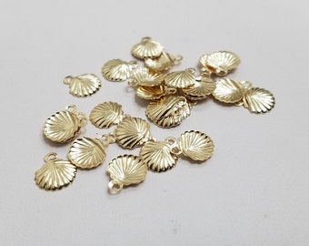 4 - 14k Gold Filled Charm Clam Shell, USA, Lightweight