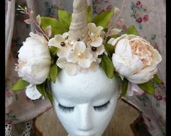 Floral Unicorn Headdress Burlesque Fantasy Festival Fascinator Hairband Headpiece Burning Man Cosplay Unicorn Costume