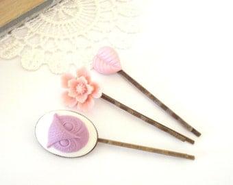 Purple Owl Hair Pins, Pastel Floral Hair Accessories, Romantic Hair Slides, Flower Girl Hair, Set of Three Hair Pins