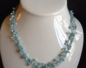 Aqua pearl and glass bead and Aqua Irish waxed linen necklace
