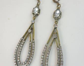 Tear Drop Rhinestone Earrings