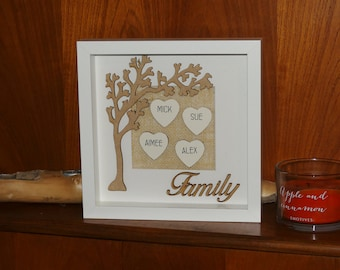 Handmade and personalised family tree frame