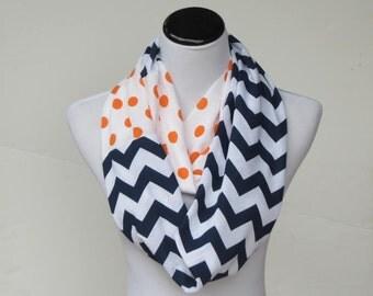 Orange navy blue chevron polka dot scarf Denver Broncos scarf, UF scarf Syracuse Orange infinity scarf football Super Bowl Cheer leading