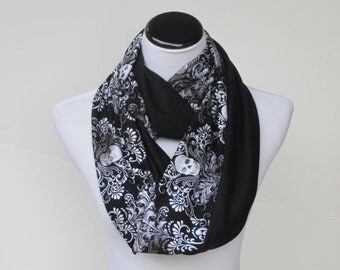 Damask and Skulls scarf Halloween skulls infinity scarf black Gothic reversible scarf jersey knit scarf gift idea for Gothic girl