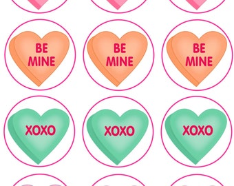 Candy Heart Edible Image Cupcake Toppers