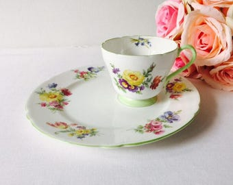 Shelley Floral Snack Set, Staffordshire, 1930s.