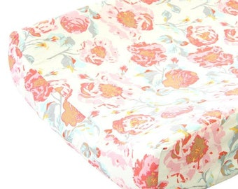 Felicity's Floral Changing Pad Cover | Vintage Pink & Aqua
