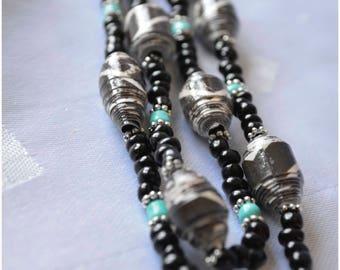 """Handmade  Paper Bead """"single strand"""" Necklace - Aqua & Black"""