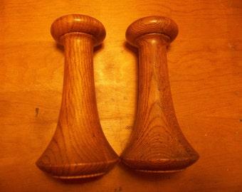 Pair Of Versatile Solid Oak Candle Sticks