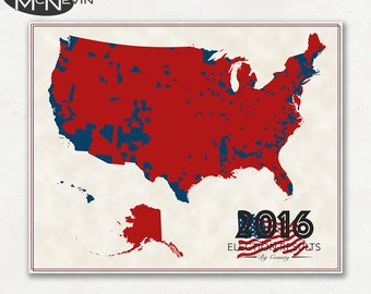 2016 Us Election Results County Map Fine Art Pographic Print Map Of The United