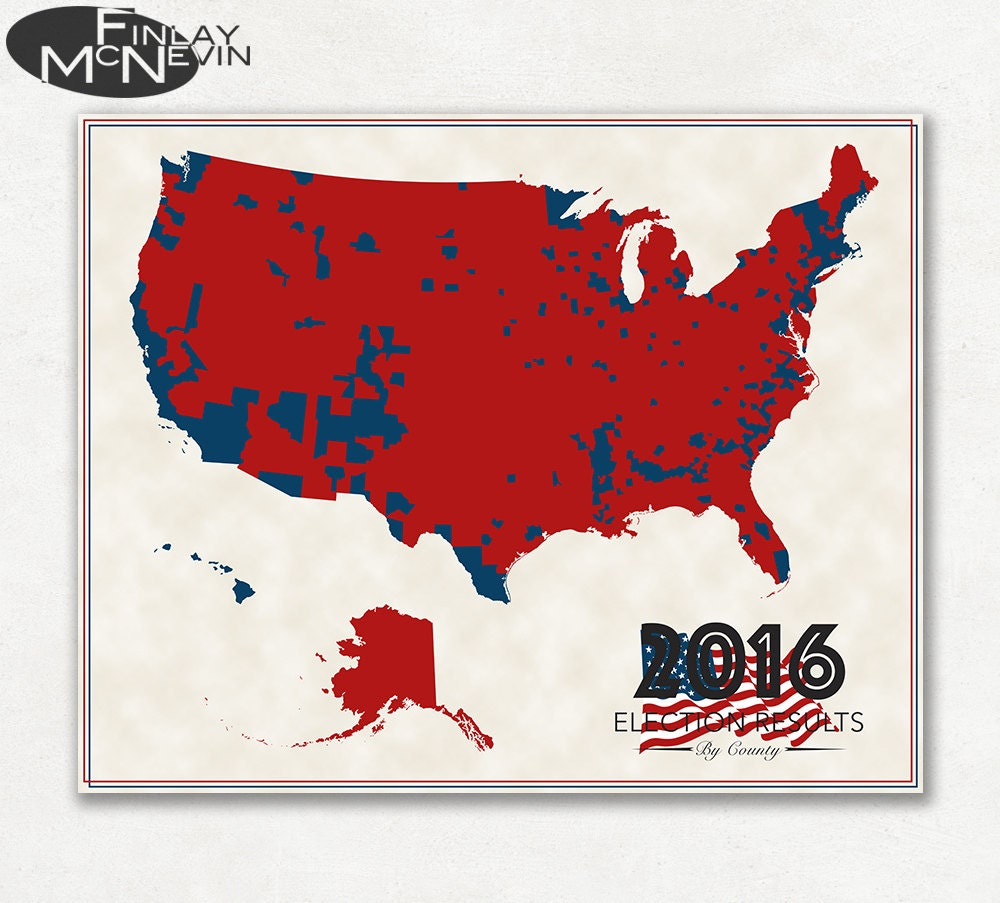 US ELECTION RESULTS County Map Fine Art Photographic - Us electoral map by county 2016