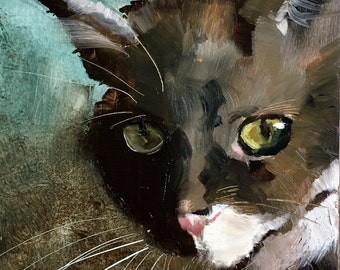 Yellow eyes, original cat oil painting on panel 15x15cm