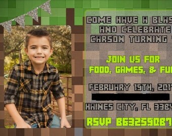 Inspired by Minecraft birthday invitation digital download