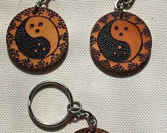 Dudeism Dude yang hand pyrographed oak wooden key chain