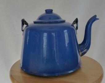 30% OFF! Vintage Cobalt Blue Enamelware Teapot