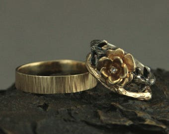 Woodland Wedding Set~Belle's Rose Ring~Gold Twig Ring~Gold Bark Band~Beauty and The Beast Inspired Set~Rustic Wedding Set~Gold Rose Ring