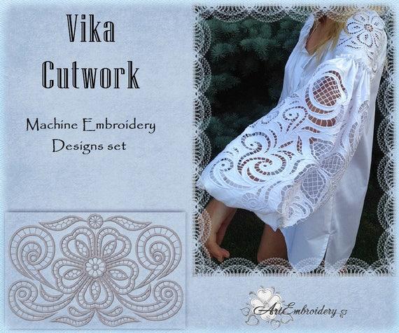 Vika cutwork richelieu machine embroidery designs set for Glass cut work designs
