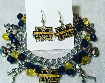 Michigan state charm bracelet