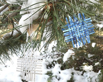 One Blue Woven Oranment- Paper Weaving- 3x3- Hand Painted- Blue, White, Silver