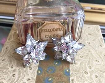 1940's Sterling Frame & Crystal Flower Scatter Pins, Set of 2, Vintage Brooches