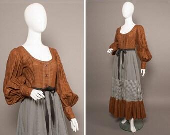 JEAN VARON 70s ICONIC Gingham Peasant Maxi Dress Uk 6-8