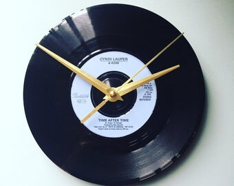 Cyndi Lauper Time After Time Upcycled Vinyl Record Clock