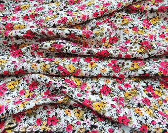 Pink floral cotton fabric. Cotton poplin. Summer dress fabric. Small print fabric. Pink yellow flowers fabric. Dress material Floral pattern