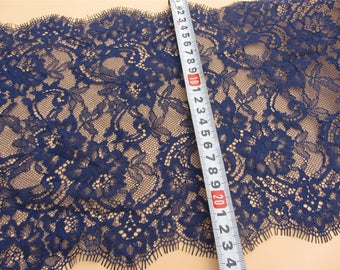 1yard Skirts lace fabric, Lace trimming,navy blue French Chantilly Lace ,Exquisite Eyelash blue Lace Trim,Wedding lace fabric