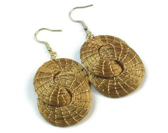 Golden Grass Double Hopp Earrings, Double Interlaced Hoop Earrings, Handmade, Eco Friendly