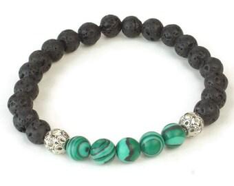 Lava Beads Bracelet, lava Rocks Stackable Bracelet, Malachite Stackable Bracelet, Lava bracelet, Unisex Stretching Bracelet, Diffuser