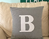 Initial pillow, Customizable pillow, Farmhouse pillow , Plaid pillow