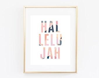 Hallelujah Print, 8x10 Printable Art Print, Christian Print, Celebration Print, Praise Print, Geometric Print, Hallelujah Printable Sign